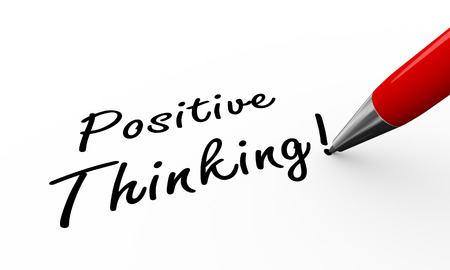 idealistic: 3d rendering of pen writing positive thinking
