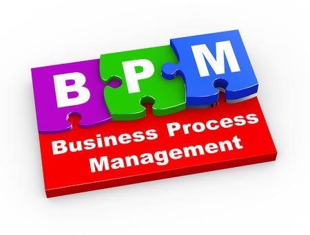 bpm: 3d rendering of puzzle pieces presentation of bpm