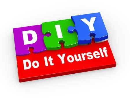 diy: 3d rendering of puzzle pieces presentation of diy