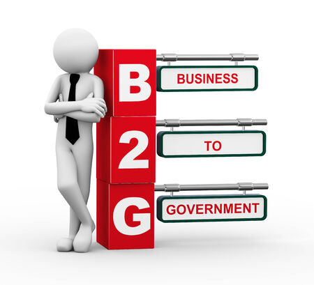 b2e: 3d rendering of business person standing with b2g - business to government. 3d white people man character.