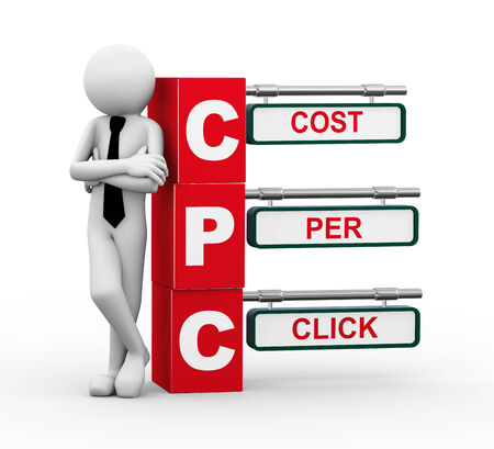 cpc: 3d rendering of business person standing with cpc - cost per click. 3d white people man character. Stock Photo