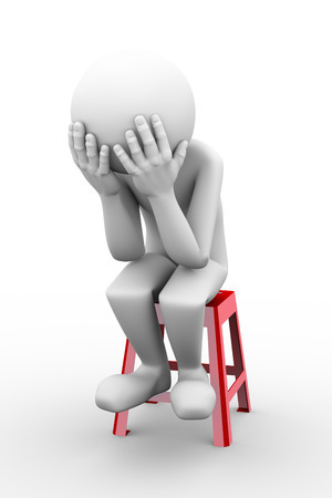 3d rendering of sad frustrated depressed person sitting on stool.