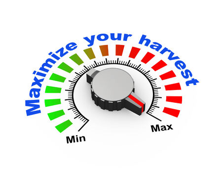 boosting: 3d illustration of knob set at maximum for your harvest