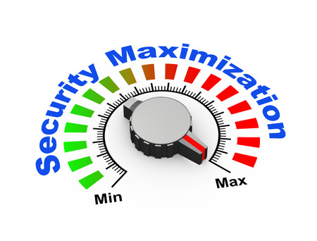 maximum: 3d illustration of knob set at maximum for security maximization