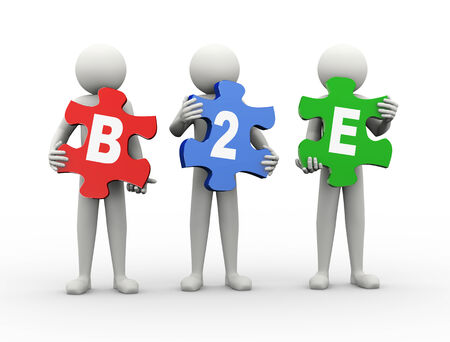 b2e: 3d rendering of people holding puzzle pieces of b2e - business to employee. 3d white people man character. Stock Photo