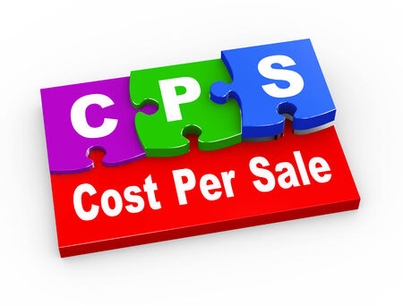 cpl: 3d rendering of puzzle pieces presentation of  cps cost per sale Stock Photo