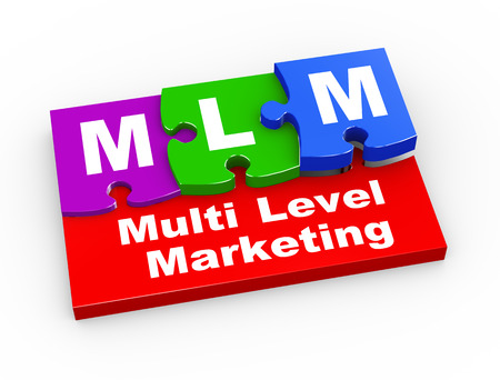multi level: 3d rendering of puzzle pieces presentation of  mlm - Multi Level Marketing Stock Photo