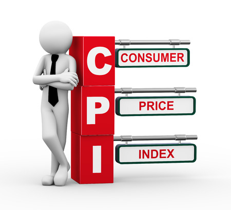 substitute: 3d rendering of business person standing with cpi - consumer price index  3d white people man characte Stock Photo