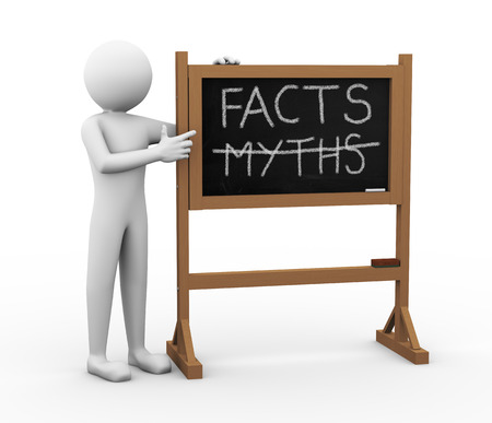 myths: 3d render of person pointing to chalkboard with text facts and crossed myths  3d white people man character
