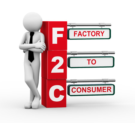 3d rendering of business person standing with f2c - factory to consumer  3d white people man character  Stock Photo - 29271035