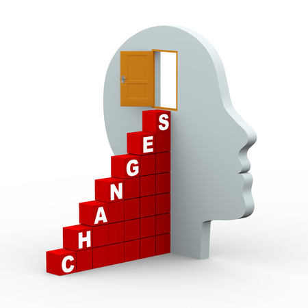 open mind: 3d rendering of human head with open door and word changes stairs made up of cubes  3d white people man character