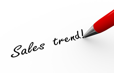 sales trend: 3d rendering of pen writing sales trend on paper
