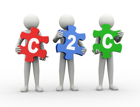 3d rendering of people holding puzzle pieces of c2c  - client to client  3d white people man character photo