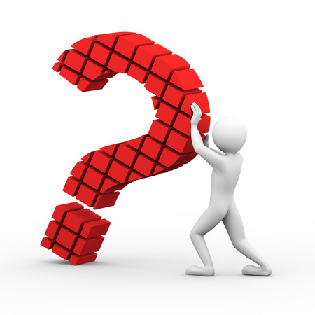 3d rendering of man holding falling block question mark sign symbol. 3d white people man character. photo