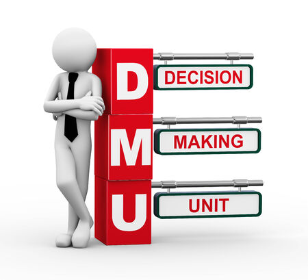 unit: 3d rendering of business person standing with dmu - decision making unit. 3d white people man character.