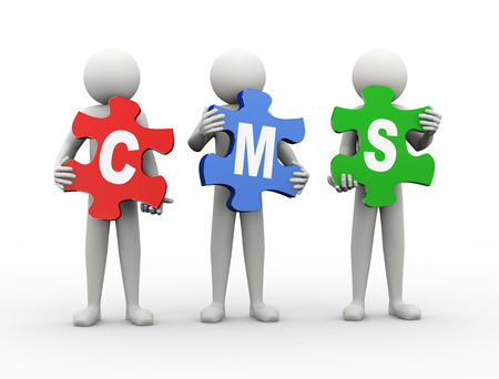 cms: 3d rendering of people holding puzzle pieces of cms - content management system. 3d white people man character