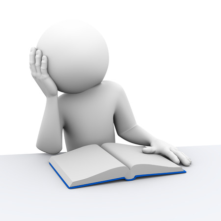3d rendering of  stressed student reading book. 3d white people man character photo