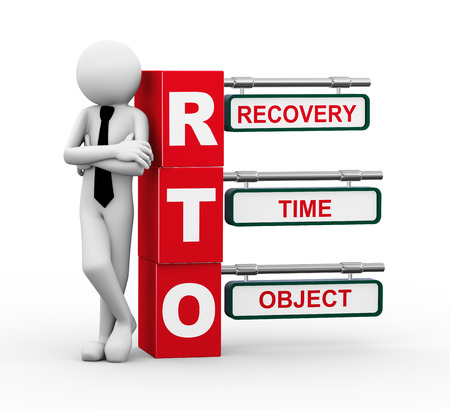 impact: 3d rendering of business person standing with rto - recovery time object  3d white people man character