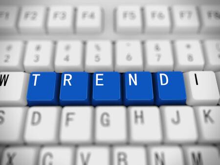 reforming: Representaci�n 3D de teclado blanco con botones de color azul de tendencia palabra