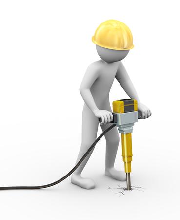presslufthammer: 3D-Rendering von Arbeits Mann mit Helm graben Beton mit Presslufthammer Strom 3D-weiße Menschen Mann Charakter
