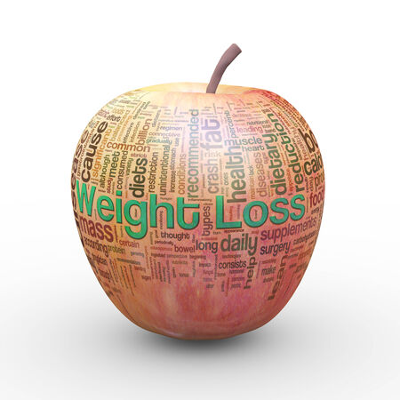 reduction: 3d rendering of fresh apple presentation of weight loss wordcloud word tags concept