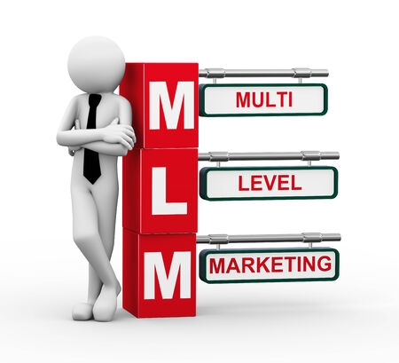 buzz: 3d rendering of business person standing with mlm - multi level marketing  3d white people man character Stock Photo