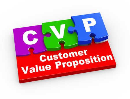 proposition: 3d rendering of puzzle pieces presentation of cvp - customer value proposition