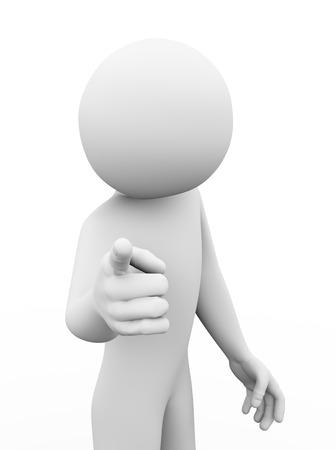 jefe enojado: Representación 3D de hombre enojado que señala el dedo a usted Hombre del carácter 3d gente blanca