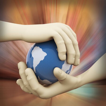 hands holding globe: 3d rendering of human hand holding world map globe on abstract background