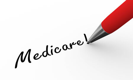 medicare: 3d rendering of pen writing medicare on paper Stock Photo