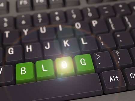3d rendering of black computer keyboard with green blog button photo