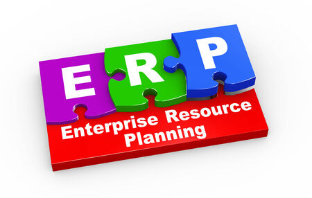 erp: 3d rendering of puzzle pieces presentation of erp - enterprise resource planning Stock Photo