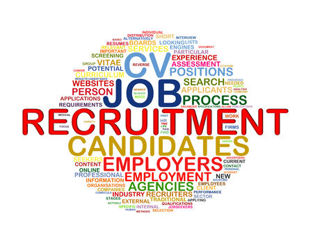 job hunting: Illustration of circular word tags wordcloud of recruitment