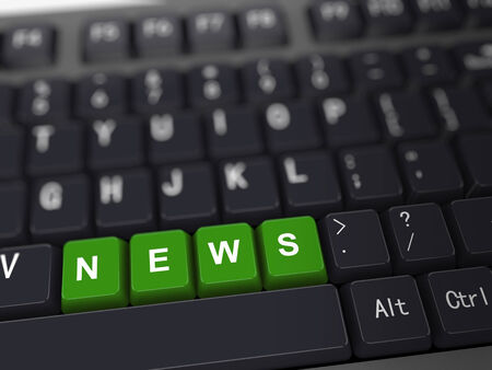 3d rendering of black computer keyboard with news button photo