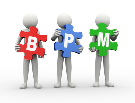 bpm: 3d rendering of people holding puzzle pieces of bpm - business process management  3d white people man character