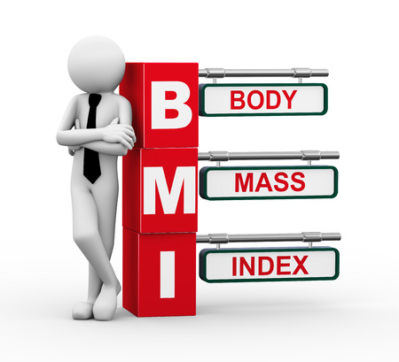obesity: 3d rendering of business person standing with bmi - body mass indexr  3d white people man character  Stock Photo