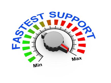maximum: 3d illustration of knob set at maximum for fastest support