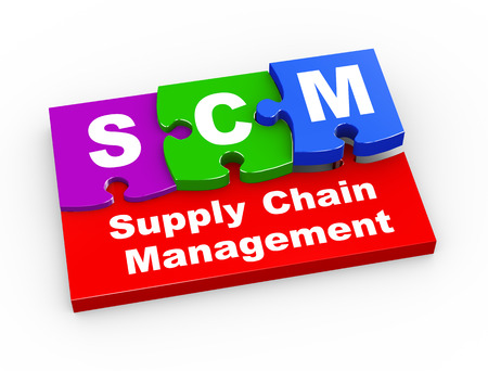 scm: 3d rendering of puzzle pieces presentation of scm - supply chain management Stock Photo