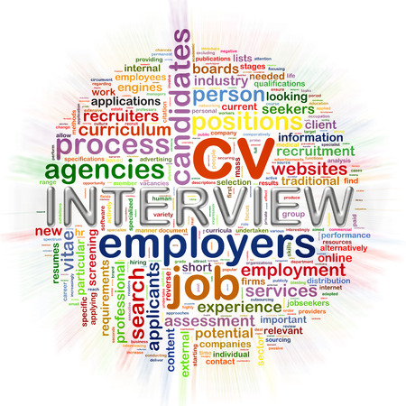 employee development: Illustration of circular word tags wordcloud of interview