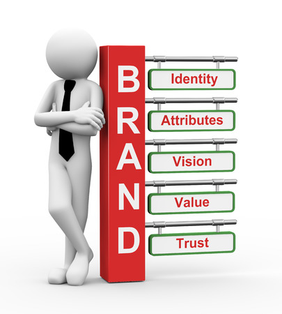 3d rendering of business person standing with of brand modern signpost. 3d white people man character. Stockfoto