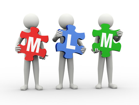 multi level: 3d rendering of people holding puzzle pieces of mlm - multi level marketing. 3d white people man character. Stock Photo