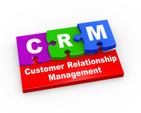 crm: 3d rendering of puzzle pieces presentation of crm - customer relationship management