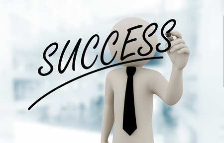 person writing: 3d rendering of business person writing word success on touch transparent screen. 3d white people man character. Stock Photo