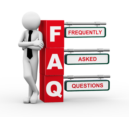 faq: 3d rendering of business person standing with faq - frequently asked question. 3d white people man character.