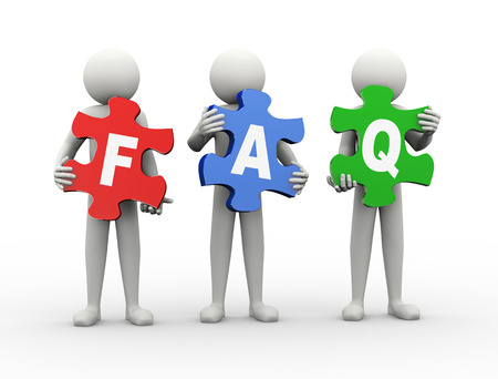 3d rendering of people holding puzzle pieces of faq - frequently asked questions. 3d white people man character. photo