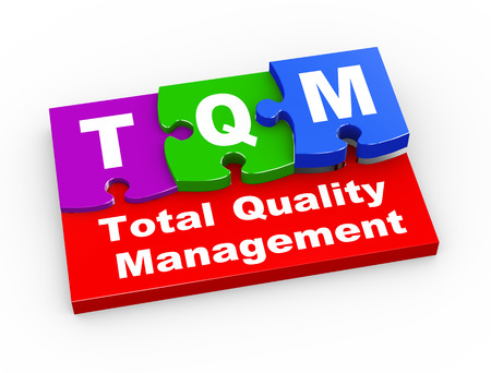 3d rendering of puzzle pieces presentation of tqm  - total quality management photo