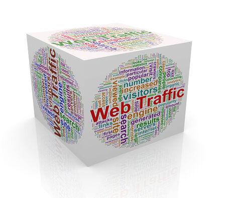 3d rendering of cube box of wordcloud word tags of web traffic photo