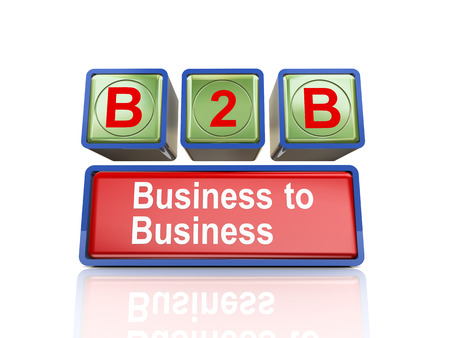 b2e: 3d rendering of reflective boxes buzzword  b2b - business to business