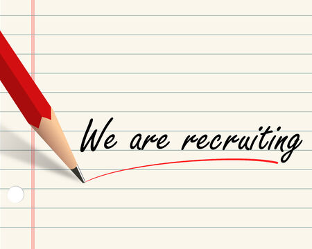 recruiting: Illustration of pencil and paper written with word we are recruiting Stock Photo