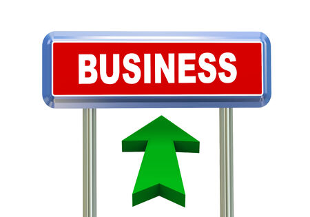 singpost: 3d rendering of moving arrow and roadsign singpost of of concept of business Stock Photo